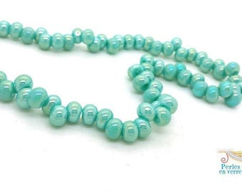 20 donuts irregularly shaped AB 5x7mm (pv720) lustrous blue glass beads