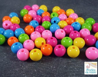 100 multicolored beads, matte acrylic, 8mm (ps76)
