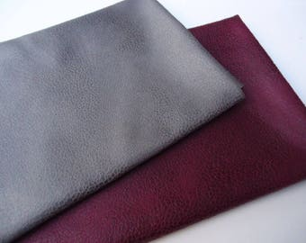 Lot 2 Coupons - 50x35cm - faux leather - grey and raspberry marbling.