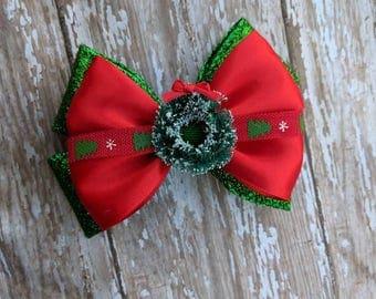 Christmas Wreath Hair Bow