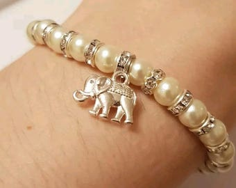 Pearl and Rhinestone beaded bracelet with Elephant Charm
