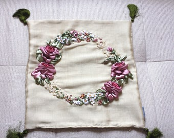 Cushion cover 40 x 40 embroidered - floral embroidery with ribbons - living room tassel Flower Pillow cover