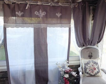 Pair of curtains linen 150 x 260 each white Gustavian grey, Shabby Chic embroidery
