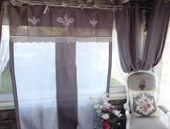 Paire de rideaux en lin 150x260 chacun gris gustavien blanc for Rideaux gris et blanc en lin