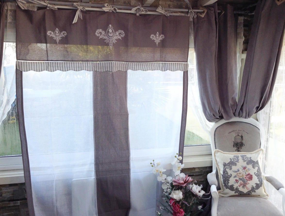 paire de rideaux en lin 150x260 chacun gris gustavien blanc. Black Bedroom Furniture Sets. Home Design Ideas