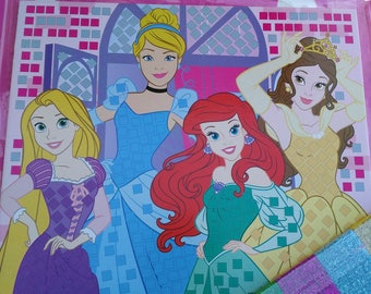 painting mosaic pattern princesses pre printed complete glitter foam with stickers