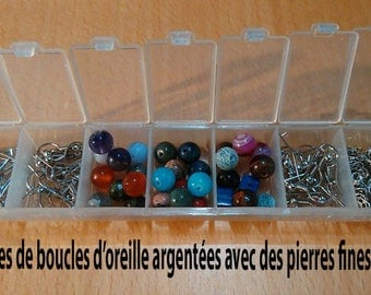 DIY kit to create 15 pairs of Earrings based fine 8 mm stones