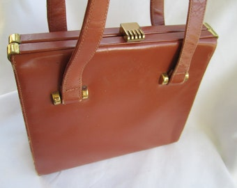 40s Cowboy Saddle Brown Handbag with Gold Tone Deco Clasp by Jana