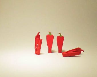 4 MINI PLIERS HAS LINEN RED PEPPERS