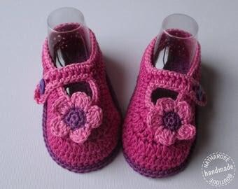 Chaussons ballerines à fleurs 9/12 mois fuchsia et violet