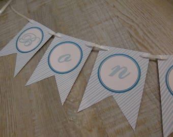 "MINI-Banderole ""Happy new year"" - light blue stripes"