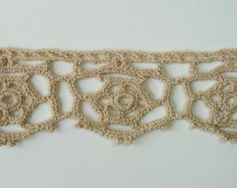 Ribbon, vintage lace trim, 70 mm, cotton, beige, sold by the yard.