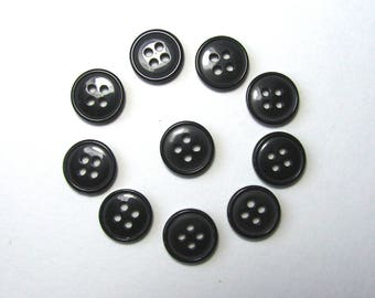 Set of 10 round buttons, 12.5 mm synthetic, black, 4 holes.