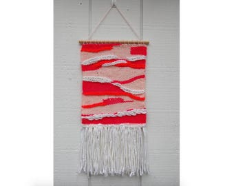 Woven Wall Hanging in Pink, Coral, & White