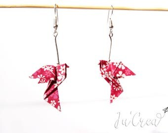 Pink Origami Dove earring