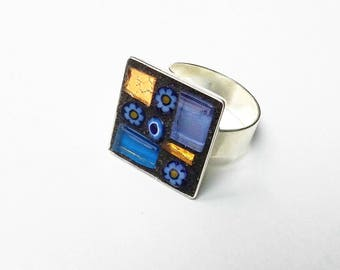 Ring silver adjustable metal square blue lavender tiling