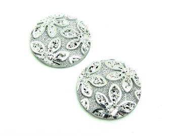 Set of 2 cabochon 20 mm round resin flower glitter silver - 20 mm