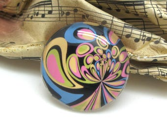 1 cabochon 25 mm glass Retro psychedelic lavender and pink - 25 mm