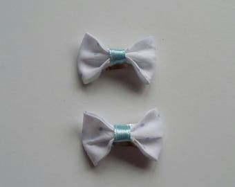 Set of 2 small white polka dots bow baby hair clips blue
