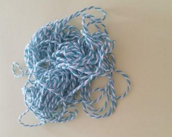 White cotton string / azure blue