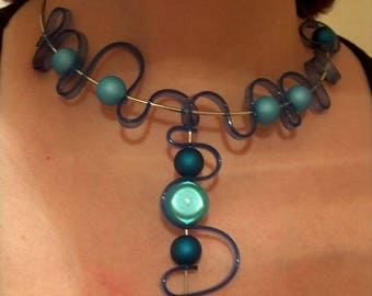 Silicone necklace, cobalt blue and turquoise beaded magic