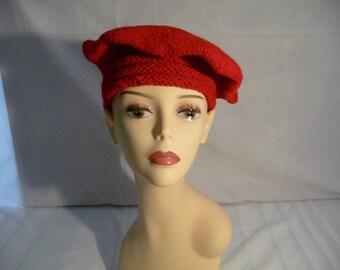 handmade red wool beret