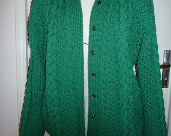 jacket meshes Irish green handmade - 100% Merino Wool knit