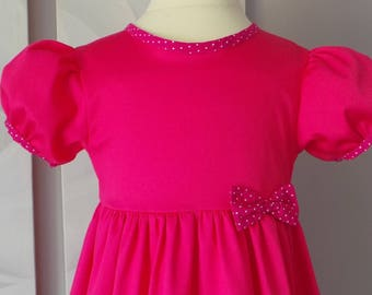 dress 5 years in fuchsia cotton sateen