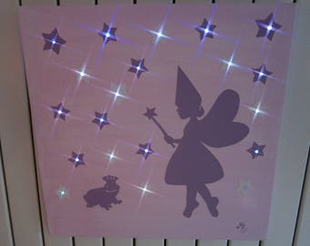 """Light canvas """"the little fairy and Toad"""" pink leds"""
