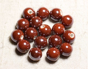 100pc - ceramic porcelain iridescent 12mm brick red brown round beads