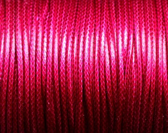 5 Metters - waxed cotton cord coated 1.5 mm Magenta Fuchsia pink round - 8741140014909