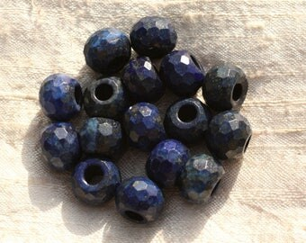 1pc - hole 5mm - Lapis Lazuli faceted Rondelle 13x10mm 4558550015877 stone bead
