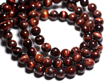 8pc - stone beads - Bull's eye balls 10mm 4558550038821
