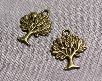 10pc - 21mm - 4558550095091 trees Bronze Metal charms pendants