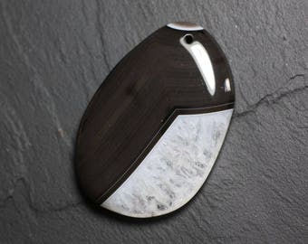 Pendant - Agate and Quartz Black and white drop 58mm N32 - 4558550085801