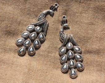 1pc - big pendant silver Metal Peacock 84mm 4558550016423