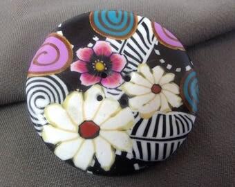 Round button 4.3 cm, bouquet: summer evening.