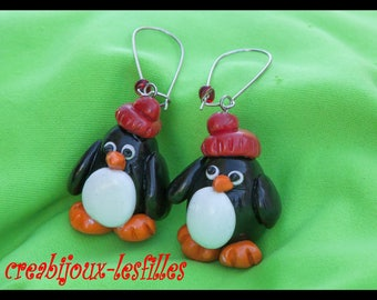polymer clay earring small Penguin