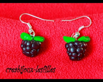 earring BlackBerry polymer clay greed