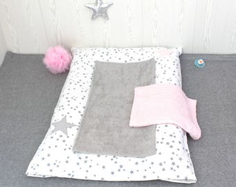Changing pad cover, white with grey stars and pale pink