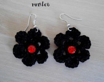 Black cotton crochet Flower Earrings