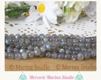 10 pearls 6mm 6.5 mm top quality flash labradorite