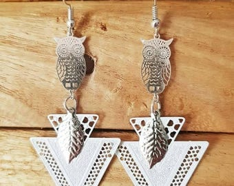 White and silver OWL earrings