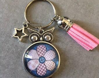 6327cca0330 Fleur - Porte clés chouette cabochon verre de 25mm