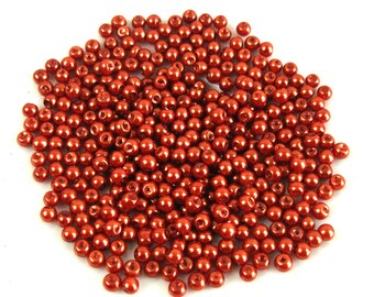 100 4 mm Brown Pearl effect glass beads