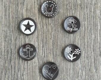 Set of 5 20mm wooden buttons - heart flower star mickey anchor