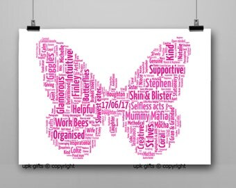 Personalised Gift Printable Word Art Butterfly, Birthday, Teacher, Mum, Sister, Best Friend, Thank You