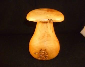 turned wood mushroom with cherry 1