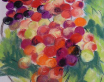 Bunch of grapes in pastels