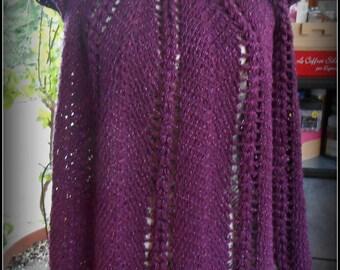 beautiful crocheted top slightly shiny thread and purple fancy stitch